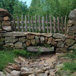Drainage Ditch for Rustic Landscape with Wood