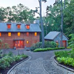 Driveway Apron for Eclectic Exterior with Roof Overhang