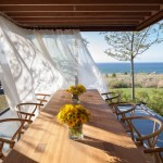 Drop Cloth Curtains for Contemporary Dining Room with Open to Outdoors