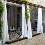 Drop Cloth Curtains for Shabby Chic Style Patio with Porte Fentre Cintre