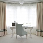Drop Cloth Curtains for Transitional Home Office with Bay Windows