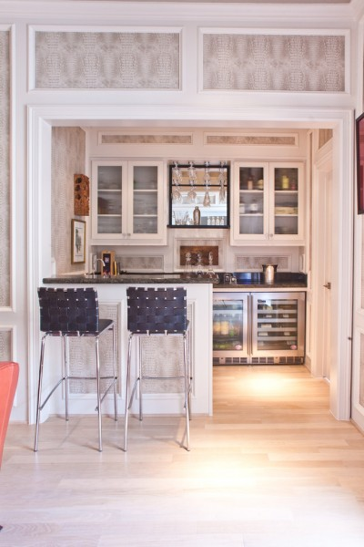 Dry Bar Upper East Side for Transitional Home Bar with White Trim