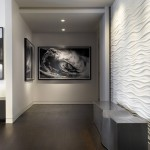Drywall Textures for Contemporary Hall with Wave Photography
