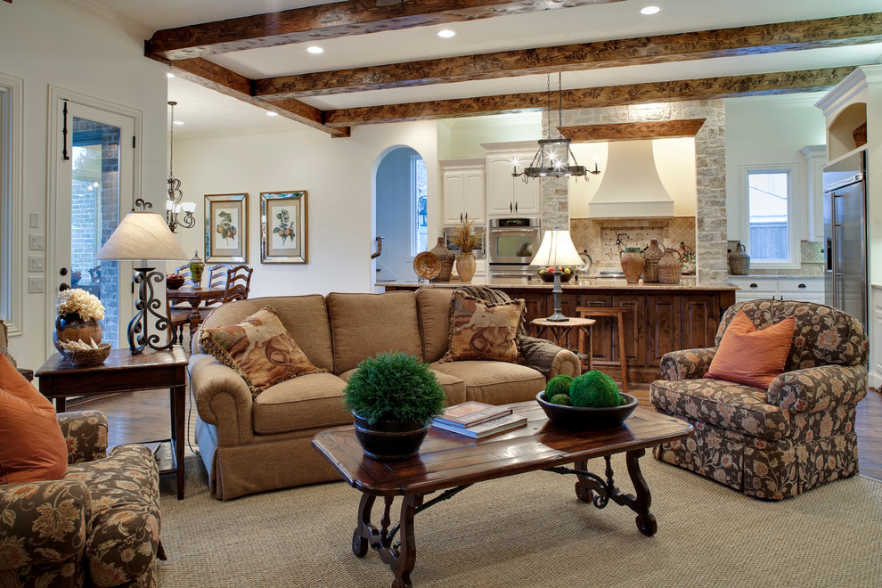 Duvet vs Comforter for Traditional Family Room with Ceiling Beams