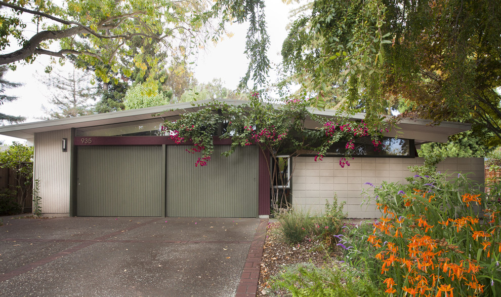 Eichler House for Midcentury Exterior with Mixed Materials
