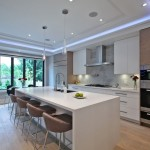 Elco Lighting for Contemporary Kitchen with Waterfall Countertop