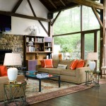 Ellsworth Ford for Rustic Family Room with Black Coffee Table