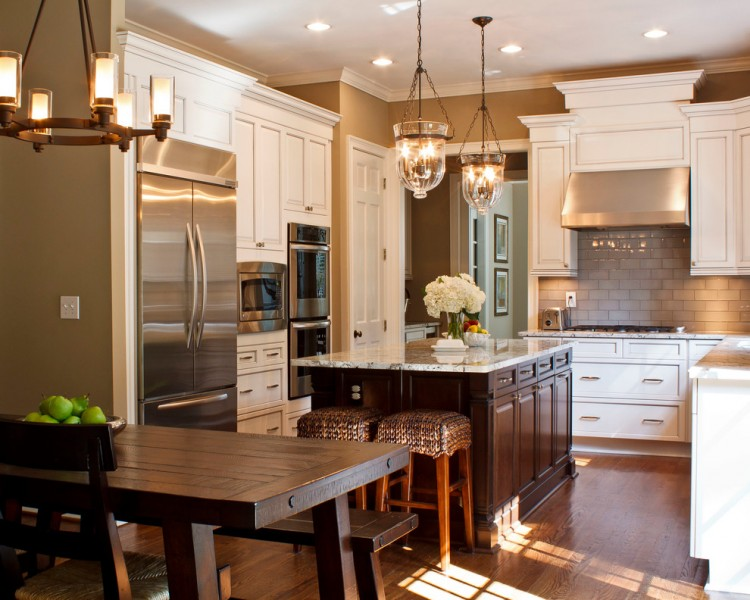 Emser Tile for Traditional Kitchen with White Cabinet