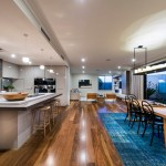 Engineered Hardwood vs Laminate for Contemporary Kitchen with Indoor Outdoor Living