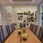 Environmental Stoneworks for Modern Dining Room with Brick Wall
