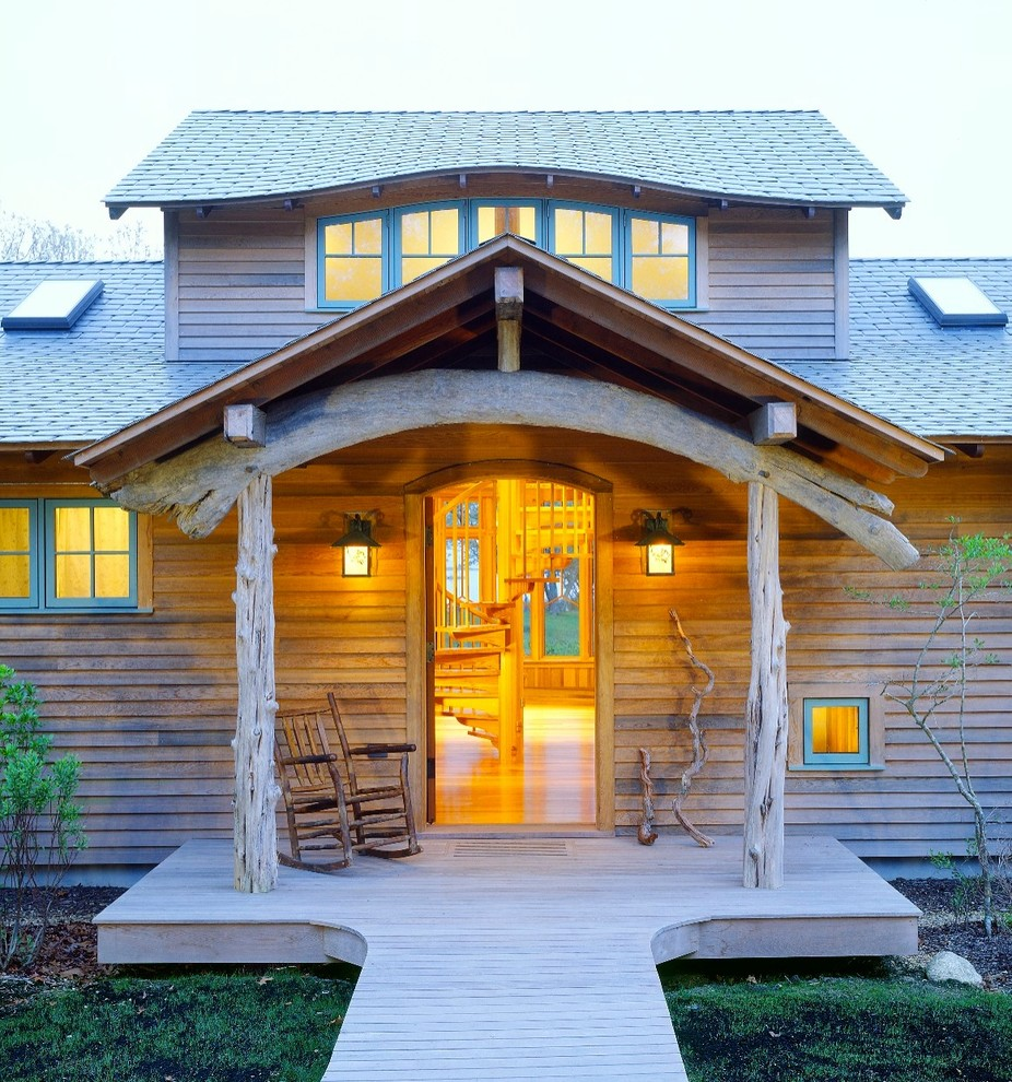 Eyebrow Arch for Rustic Entry with Wood Deck