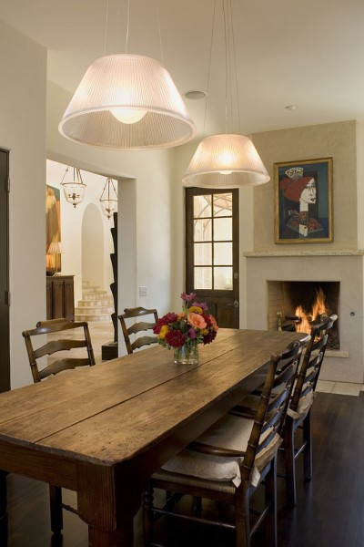 Farm Table Sf for Rustic Dining Room with Pendant Lighting
