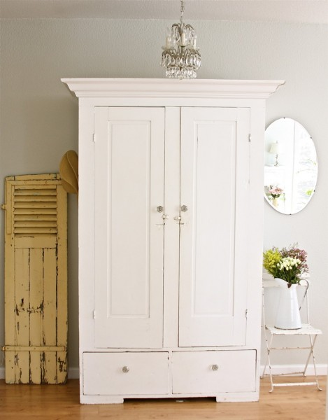 Farmgirl Flowers for Shabby-Chic Style Family Room with Armoire