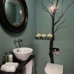 Farrow and Ball Nyc for Contemporary Powder Room with Round Mirror