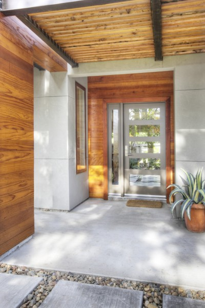 Feather River Doors for Contemporary Entry with Gray Front Door