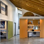 Feather River Doors for Contemporary Home Office with Accent Colors
