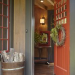 Feather River Doors for Rustic Entry with Red Door