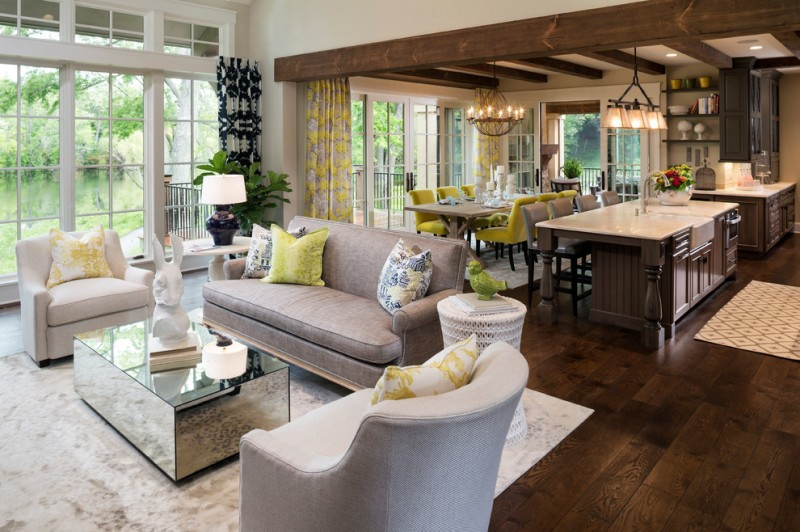 Fenton Home Furnishings for Traditional Living Room with Exposed Wood Beams