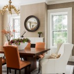 Floor and Decor Lombard for Transitional Dining Room with Orange Dining Chairs