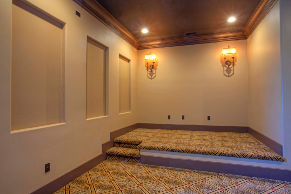Folsom Theater for Mediterranean Home Theater with Wood Ceiling