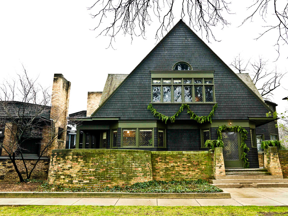 Frank Lloyd Wright Oak Park for Traditional Exterior with Green Trim