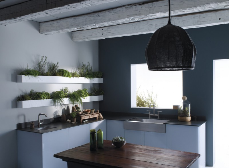 Fredericksburg Herb Farm for Contemporary Kitchen with Accent Wall