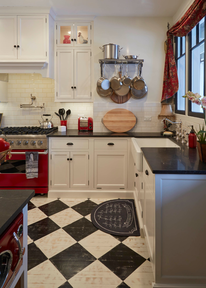 Freds Appliance for Farmhouse Kitchen with Harlequin Floor