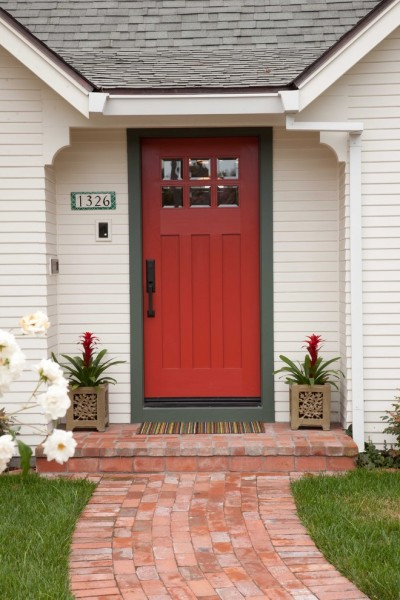 Frontroom Furnishings for Traditional Entry with Red Door