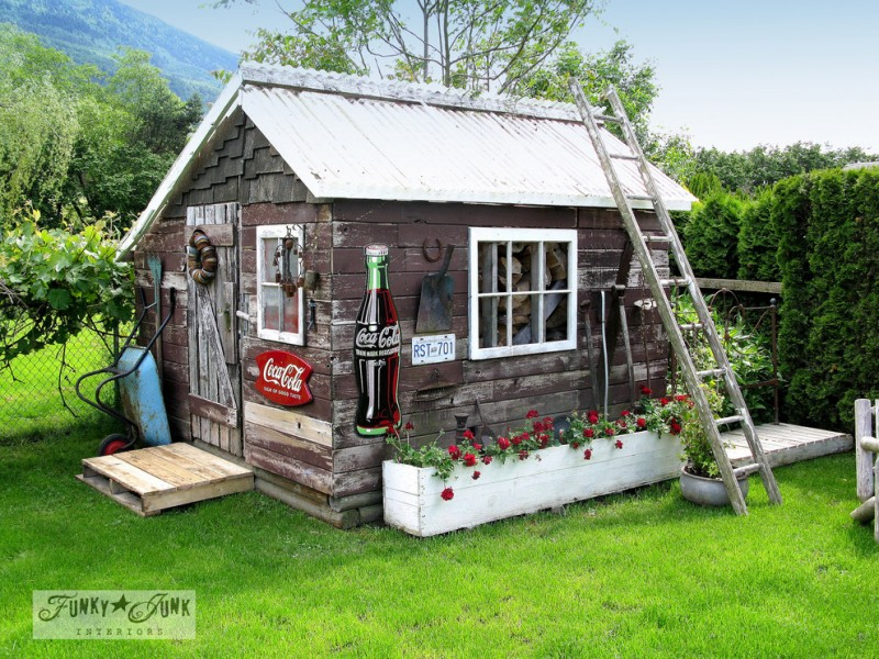 Funky Junk Interiors for Eclectic Shed with Outdoors