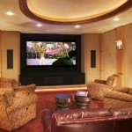 Gabberts Furniture for Rustic Home Theater with Ceiling Lighting