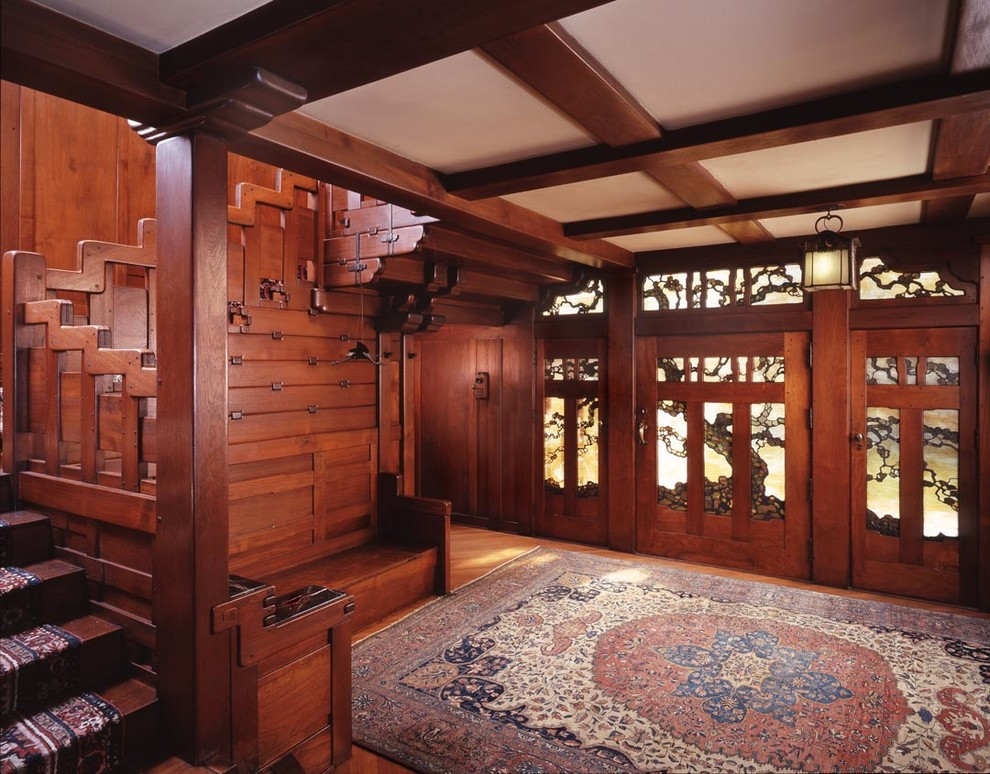 Gamble House Pasadena for Craftsman Entry with Staircase