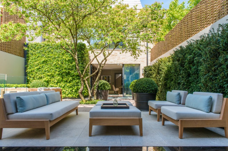 Gardiners Furniture for Contemporary Patio with Privacy Fence Ideas