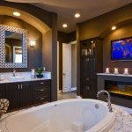 Gas Dryer vs Electric for Contemporary Bathroom with Dark Wood Vanity