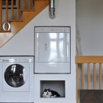 Gas Dryer vs Electric for Eclectic Laundry Room with Stair