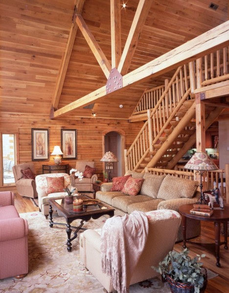 Gastineau Log Homes for Traditional Living Room with Wood Panel Walls