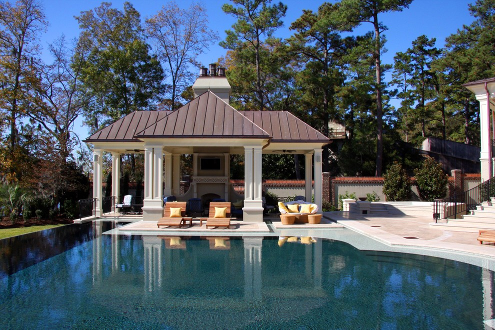 Gazebo Inn for Traditional Pool with Outdoor Living