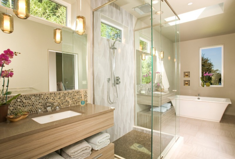 Gig Harbor Theater for Contemporary Bathroom with Towel Storage