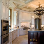 Glazing Cabinets for Traditional Kitchen with Coffered Ceiling