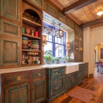 Glazing Kitchen Cabinets for Rustic Kitchen with Large Plank Wood Floors