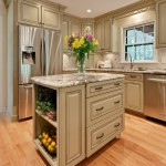 Glazing Kitchen Cabinets for Traditional Kitchen with Ceiling Lighting