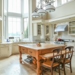 Glazing Kitchen Cabinets for Traditional Kitchen with Wood Kitchen Island
