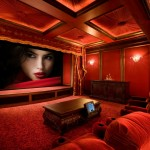 Glhomes for Traditional Home Theater with Red Armchair