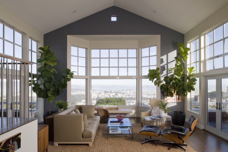 Gotham Lighting for Transitional Living Room with French Doors