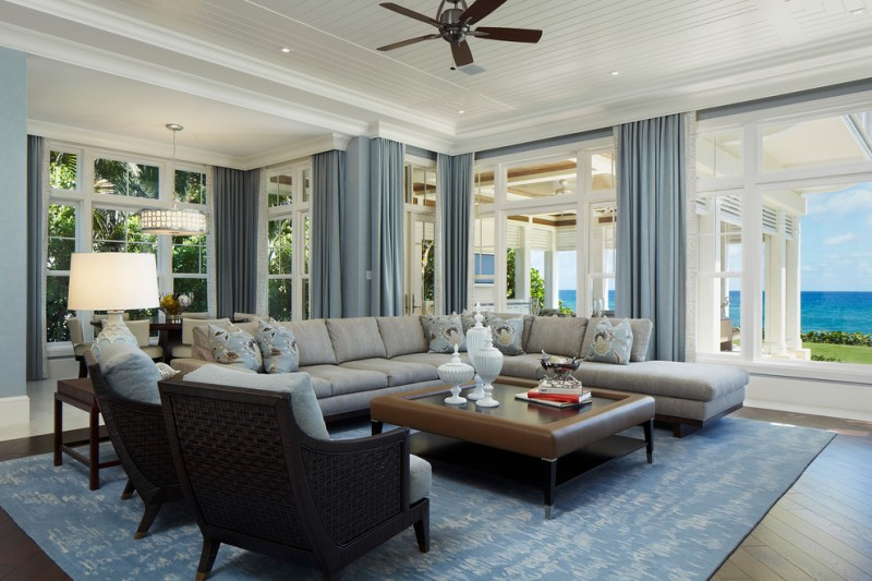 Grafton Furniture for Beach Style Living Room with Wood Flooring