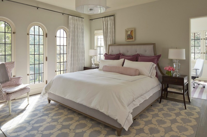 Gray Owl Benjamin Moore for Transitional Bedroom with White