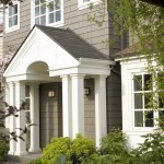 Greige Color for Traditional Exterior with Wood Trim