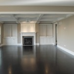 Greige Paint for Traditional Family Room with Fireplace