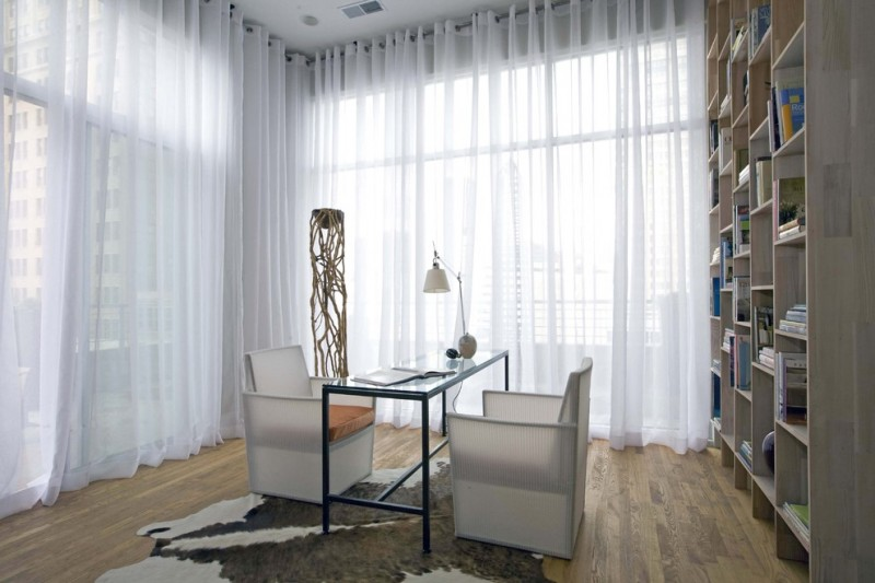 Gromets for Contemporary Home Office with Glass Topped Desk