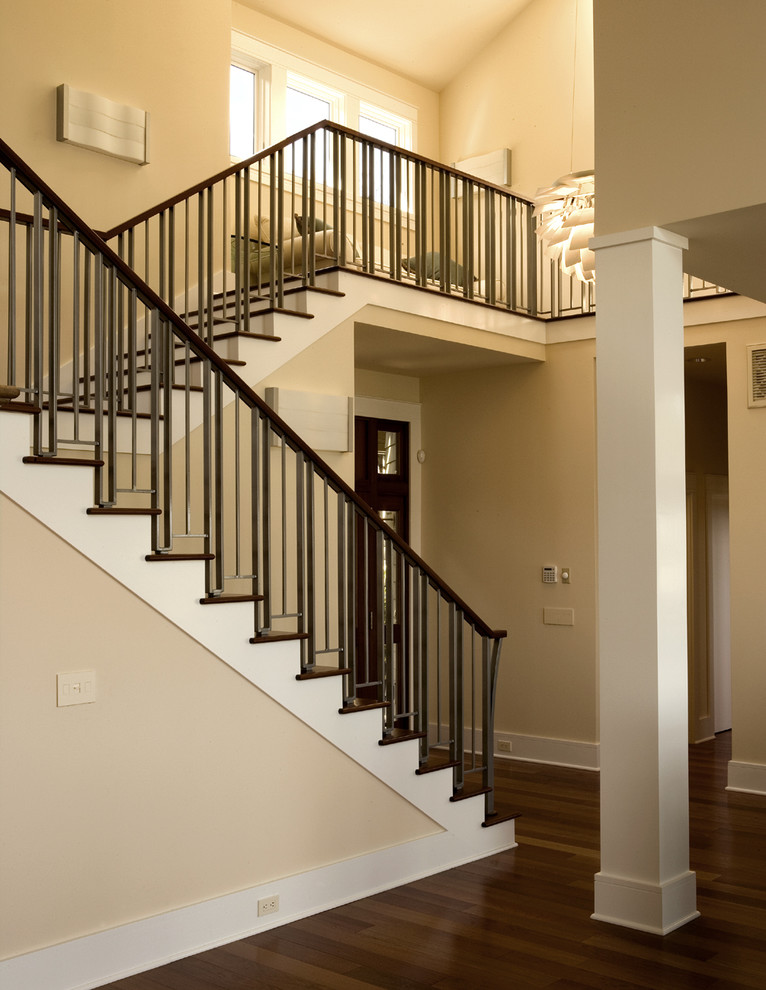 Gustav Stickley for Contemporary Staircase with Wood Stairs