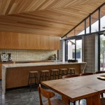 Hacienda Lighting for Midcentury Kitchen with Long Wooden Dining Table